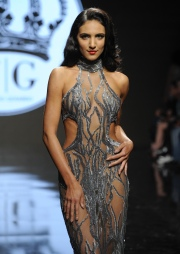 LOS ANGELES, CA - OCTOBER 10: A model walks the runway wearing Willfredo Gerardo at Art Hearts Fashion Los Angeles Fashion Week presented by AIDS Healthcare Foundation on October 10, 2016 in Los Angeles, California. (Photo by Arun Nevader/Getty Images for Art Hearts Fashion)
